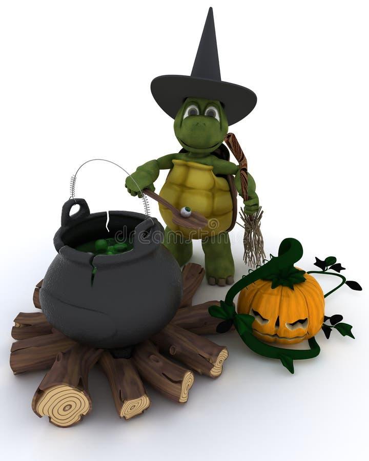 Bruxa da tartaruga com o caldeirão dos globos oculares ilustração royalty free