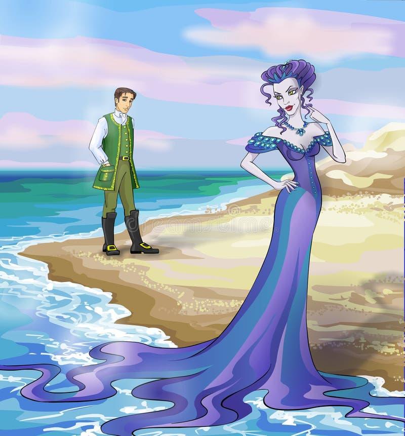 Bruxa de Beautifil do conto de fadas 8. com um príncipe. ilustração stock