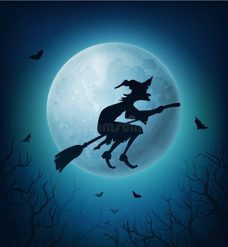 Bruxa de Dia das Bruxas na vassoura com os bastões contra a lua ilustração royalty free