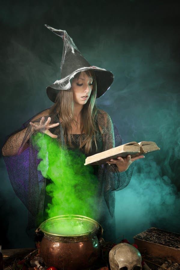 Bruxa de Dia das Bruxas que cozinha uma poção em um caldeirão imagem de stock royalty free
