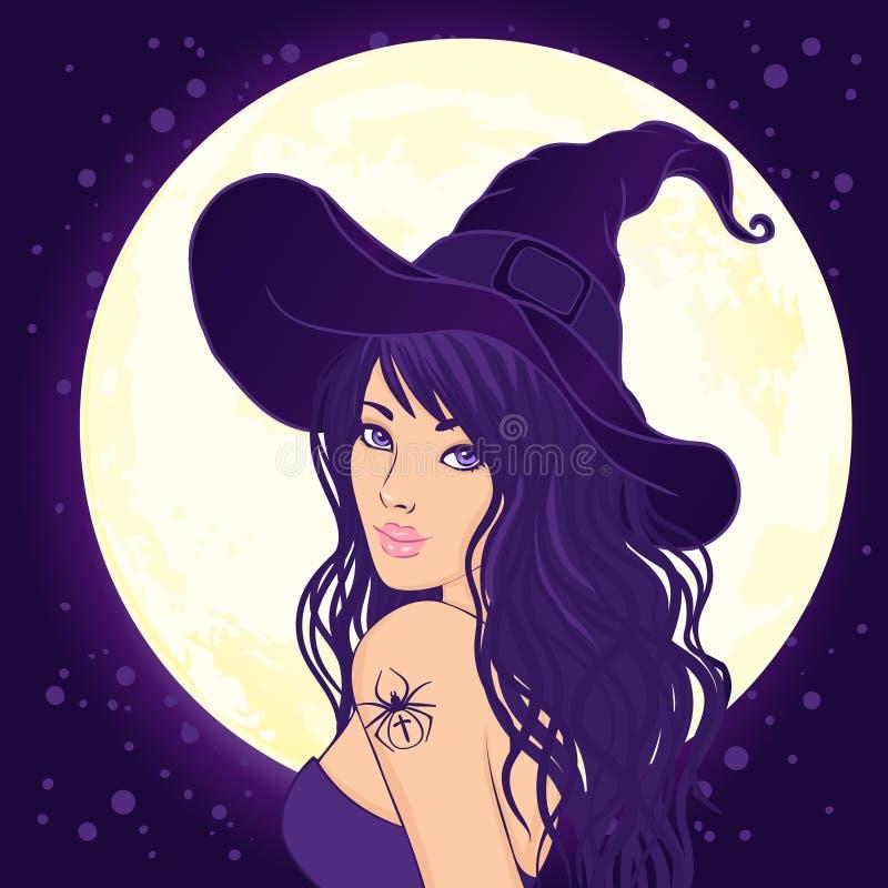 Bruxa de Halloween com um chapéu mágico ilustração stock