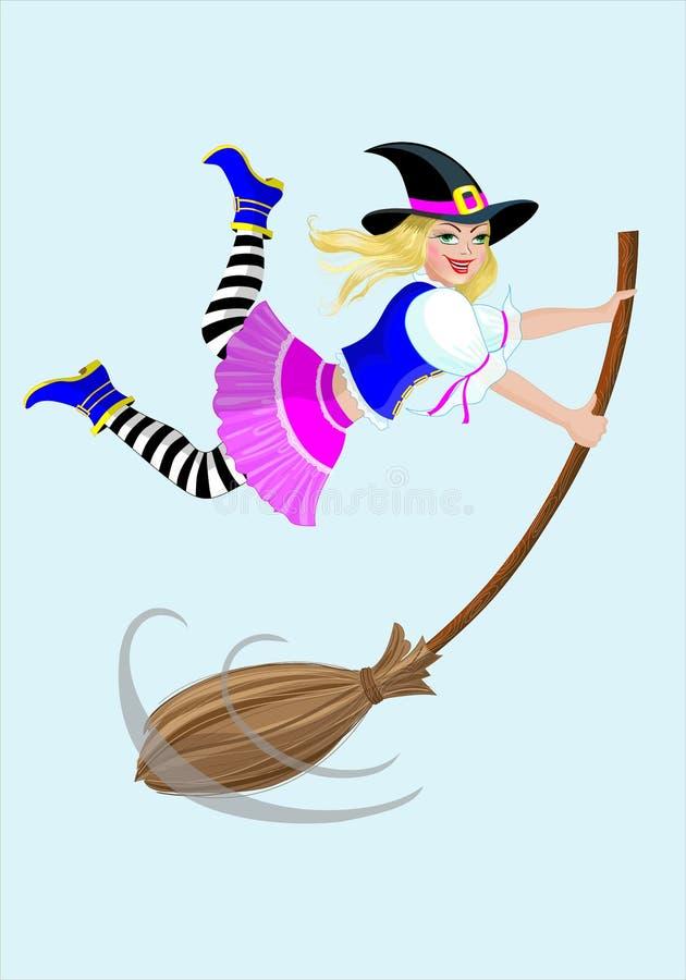 Bruxa de Halloween com uma vassoura ilustração royalty free