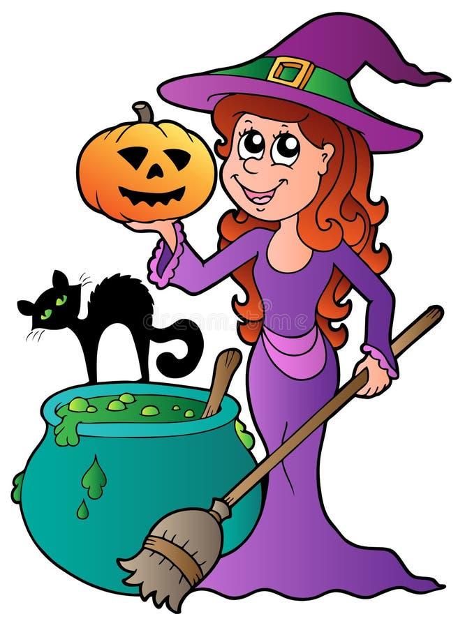 Bruxa de Halloween dos desenhos animados com gato ilustração royalty free