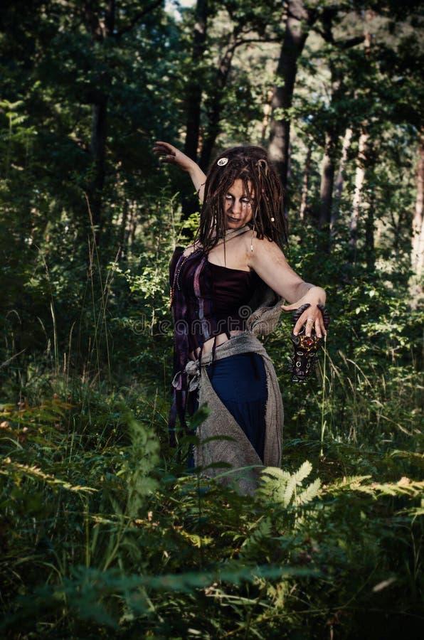 Bruxa do vudu nas madeiras foto de stock royalty free