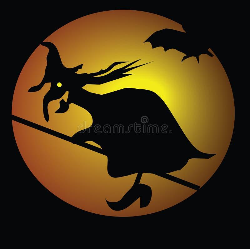 Bruxa e bastões ilustração stock