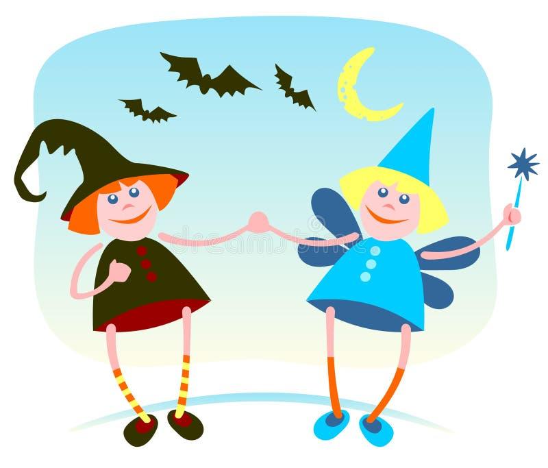 Bruxa e fairy ilustração royalty free
