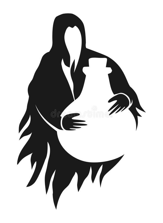 Bruxa e garrafa ilustração stock