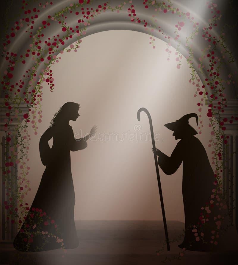 Bruxa e moça idosas no castelo abandonado velho com rosas vermelhas, caráteres de Dia das Bruxas ou caráteres feericamente, ilustração royalty free