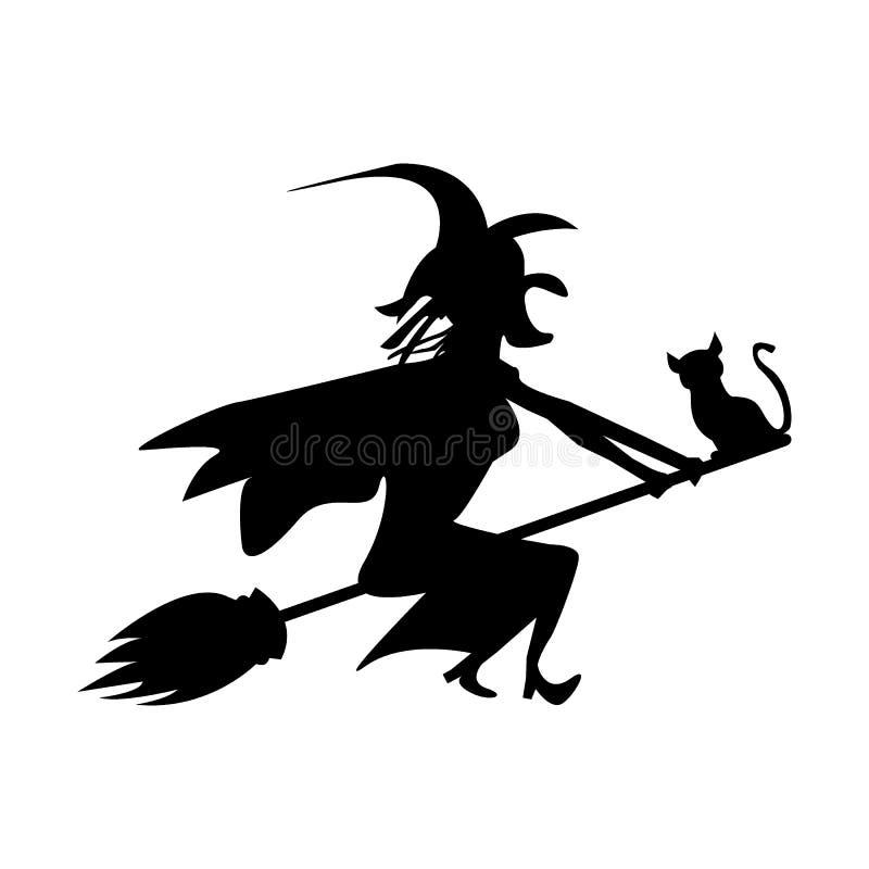 A bruxa e o gato estão voando em um cabo de vassoura ilustração do vetor