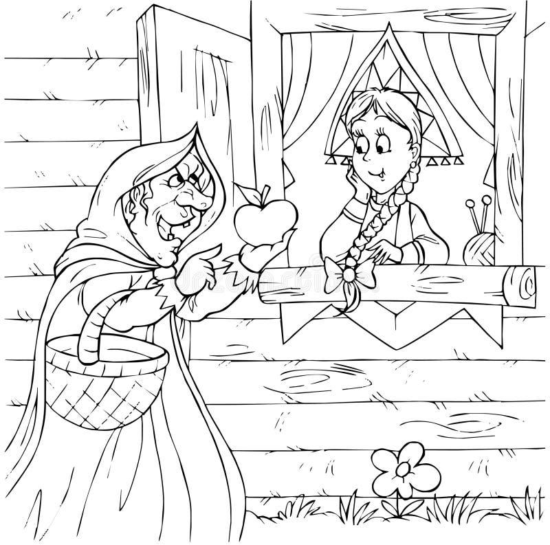 Bruxa e princesa ilustração royalty free