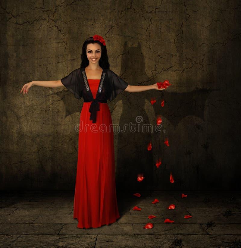 A bruxa e sua sombra fotografia de stock