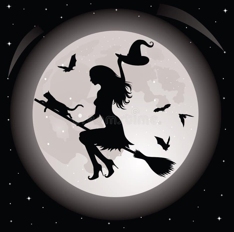 Bruxa e um gato. ilustração do vetor