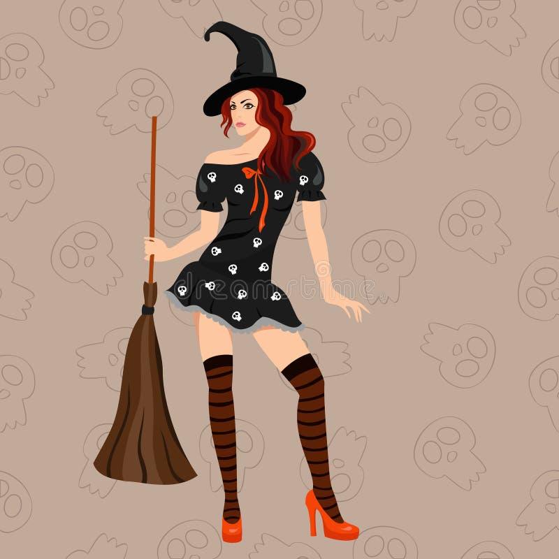 A bruxa elegante com uma vassoura ilustração do vetor