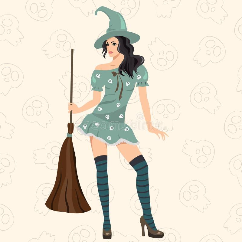 A bruxa elegante com uma vassoura ilustração royalty free