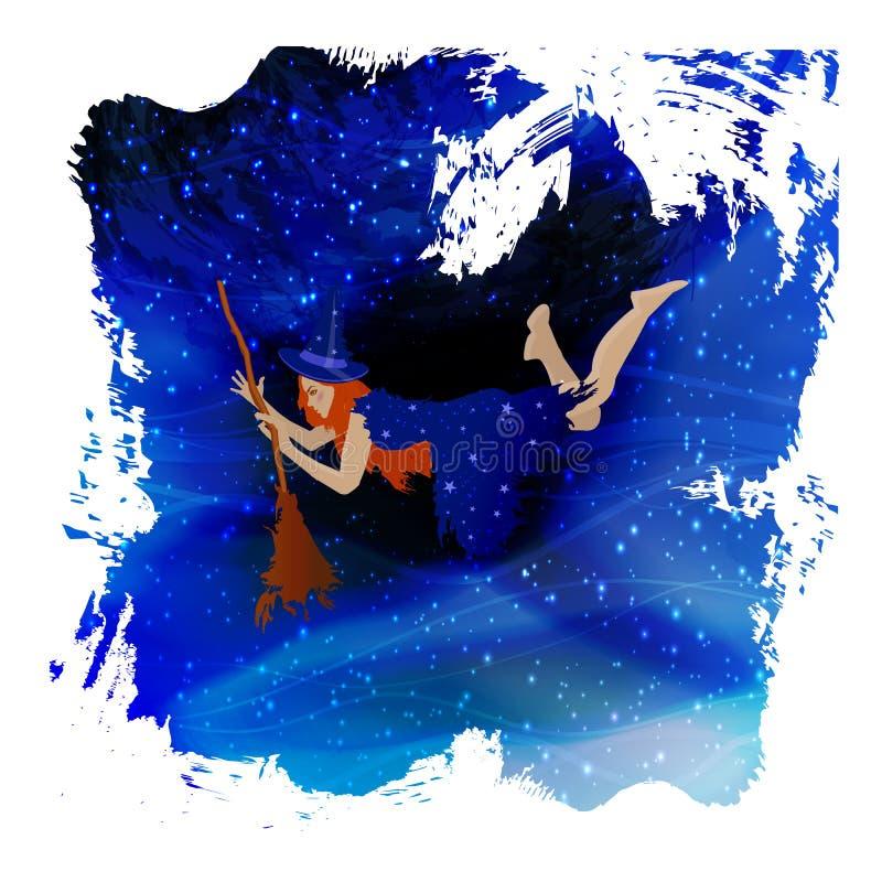 Bruxa em um broomstick Dia das Bruxas mim ilustração stock
