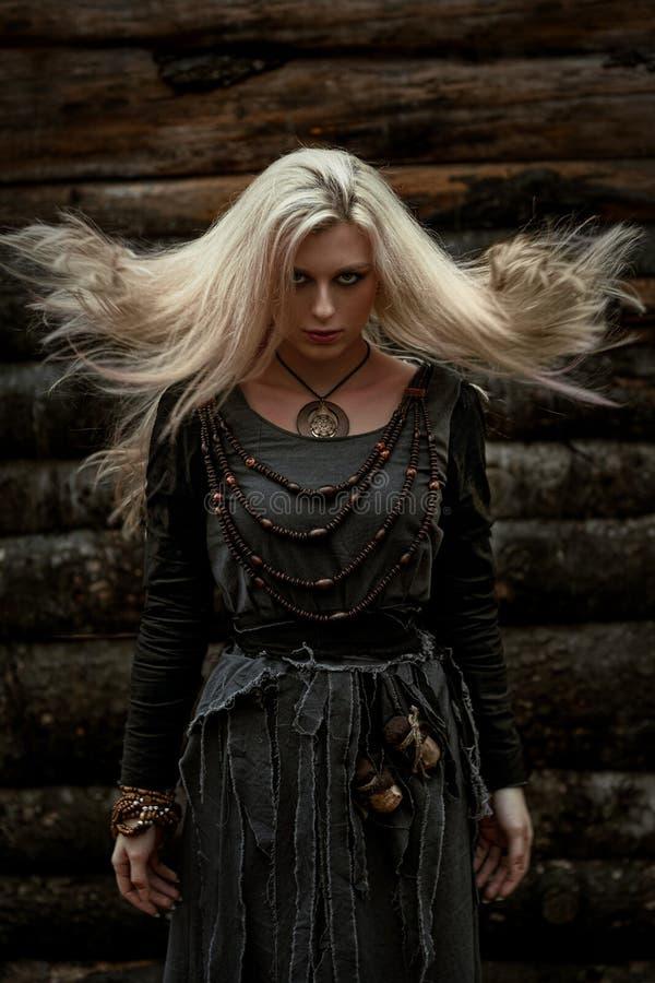 Bruxa em um vestido preto longo fotografia de stock royalty free