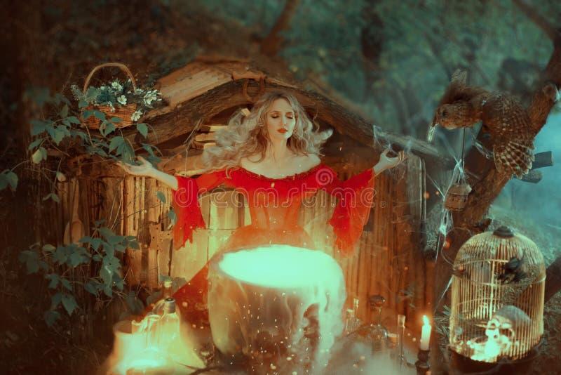 A bruxa em um vestido vermelho com os ombros desencapados da era barroco, está preparando um veneno A feiticeira convida os poder foto de stock royalty free