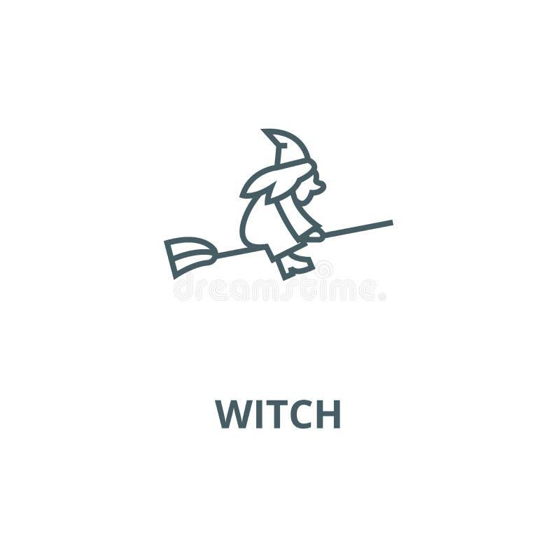 Bruxa em uma linha ícone do vetor do cabo de vassoura, conceito linear, sinal do esboço, símbolo ilustração do vetor