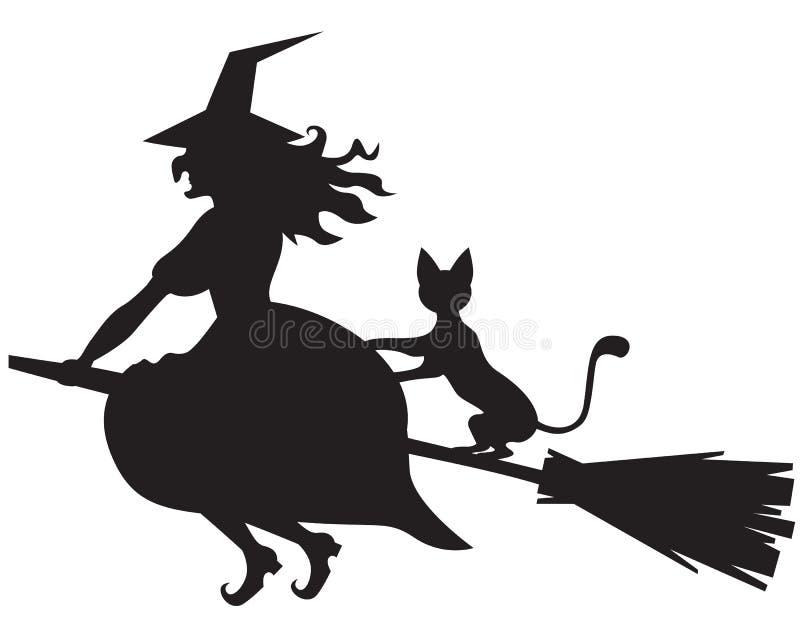 Bruxa em uma vassoura e em um gato ilustração stock