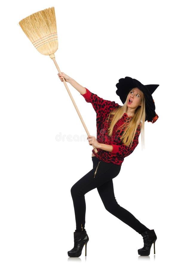 Bruxa engraçada com vassoura imagem de stock royalty free