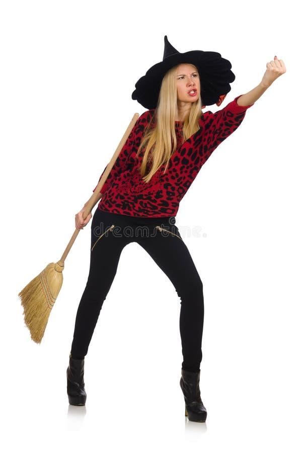 Bruxa engraçada com vassoura imagem de stock