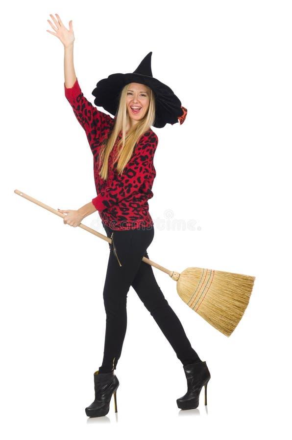 Bruxa engraçada com vassoura fotografia de stock