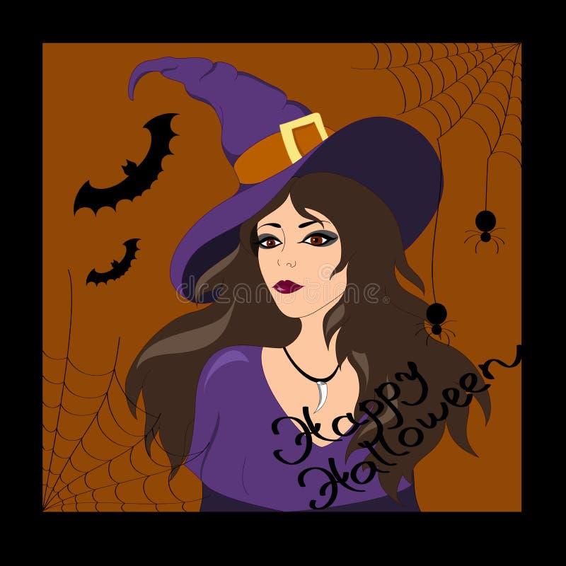 Bruxa Halloween feliz ilustração royalty free