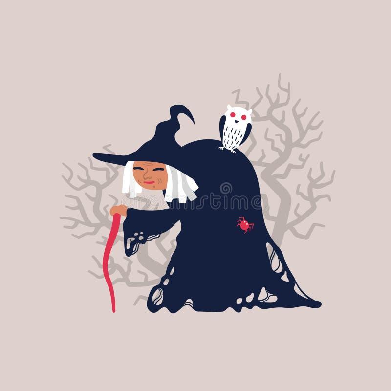 Bruxa idosa com a coruja na parte traseira ilustração stock
