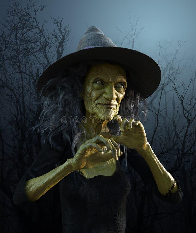 Bruxa idosa má ilustração do vetor