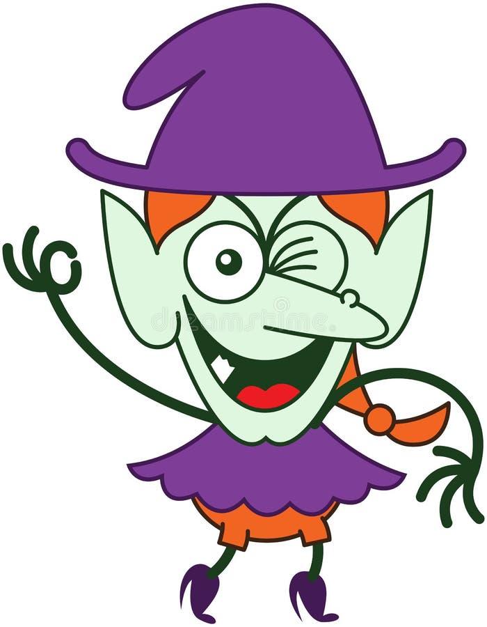 Bruxa impertinente de Dia das Bruxas que pisc e que faz um sinal APROVADO ilustração stock