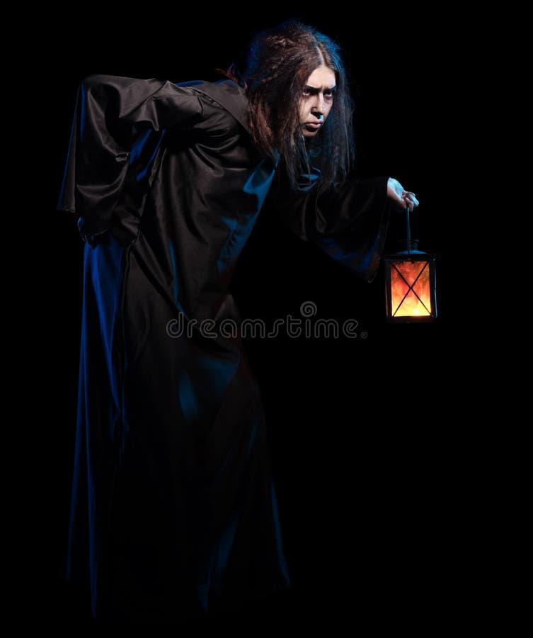 Bruxa isolada na versão preta fotografia de stock