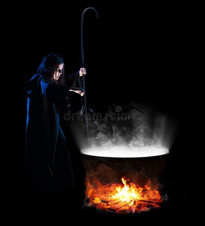 Bruxa isolada na versão preta foto de stock
