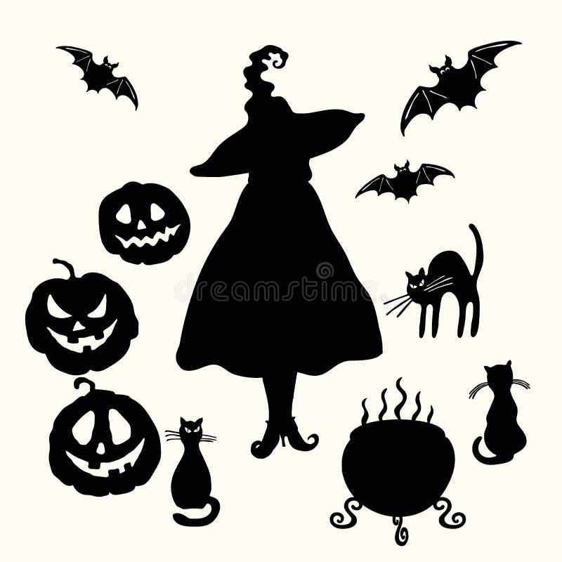 Bruxa, lanterna da abóbora, gato, caldeirão e estêncil do bastão ilustração do vetor