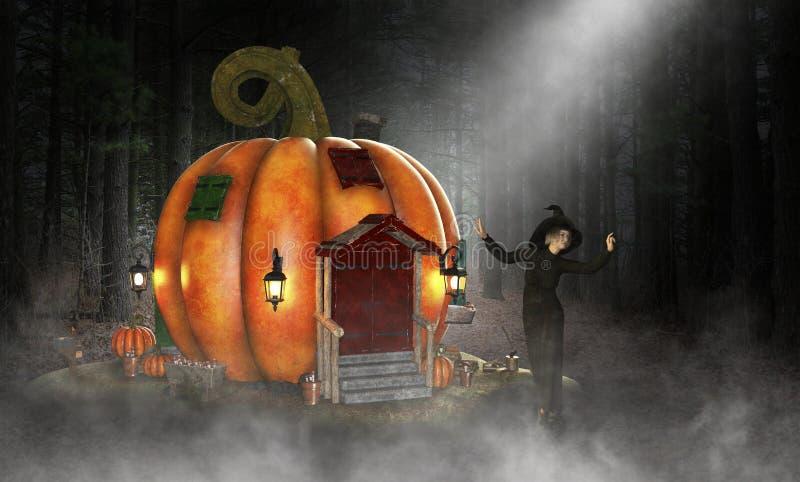 Bruxa má de Dia das Bruxas, casa da abóbora ilustração royalty free