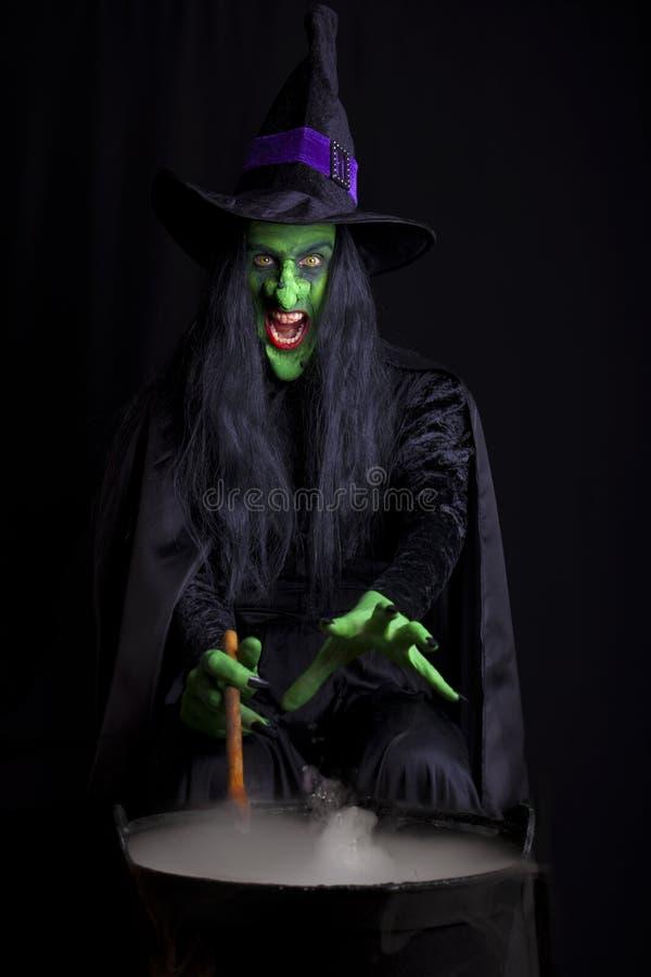 Bruxa má que agita seu caldeirão enevoado fotos de stock