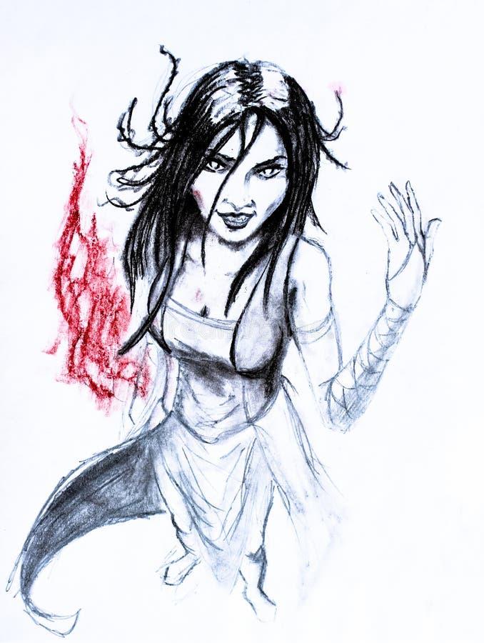 Bruxa moreno da mulher no vestido Desenho de lápis O fogo da paixão e da malícia ilustração royalty free