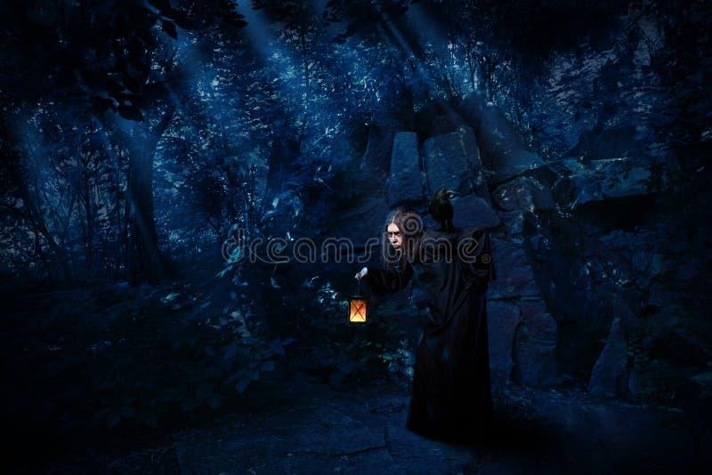 Bruxa na floresta da noite com versão do corvo fotografia de stock