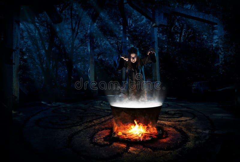 Bruxa na floresta da noite com versão da rã fotografia de stock royalty free