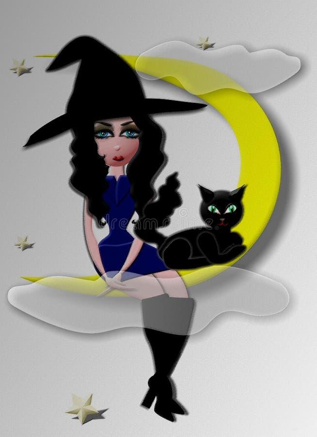 Bruxa na lua ilustração stock
