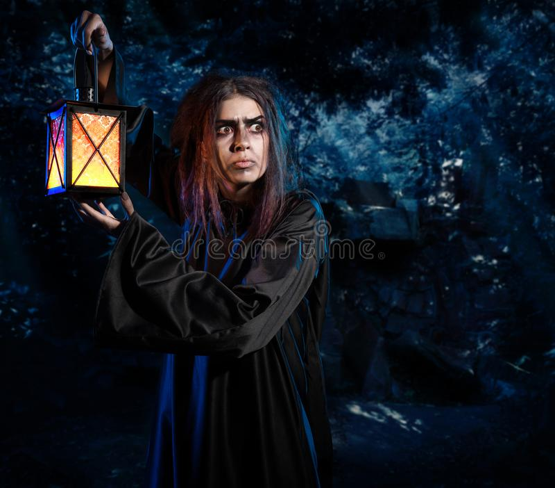 Bruxa na versão da floresta da noite imagem de stock