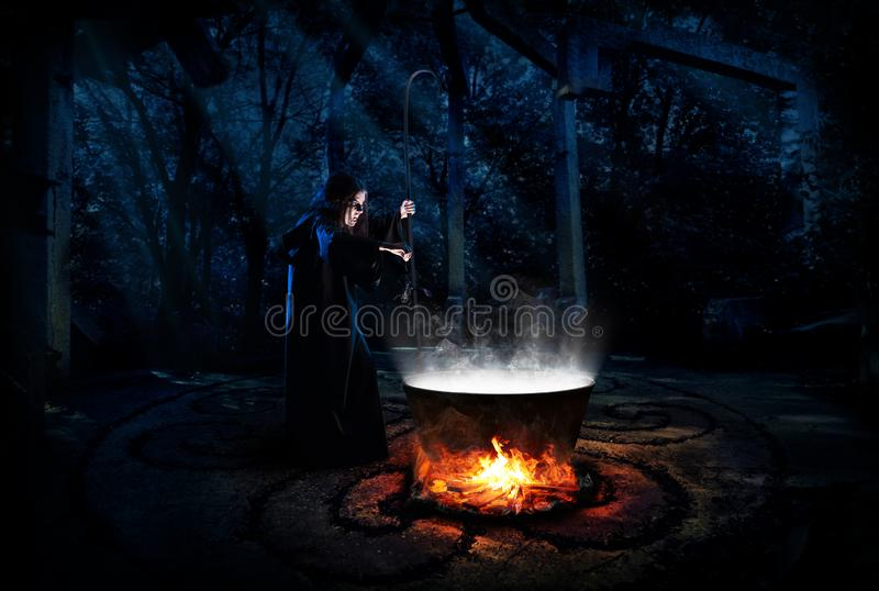 Bruxa na versão da floresta da noite imagens de stock royalty free