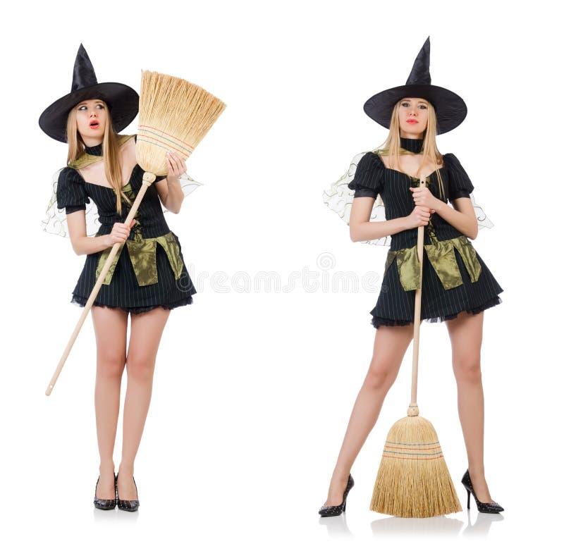 A bruxa no fundo branco fotos de stock royalty free