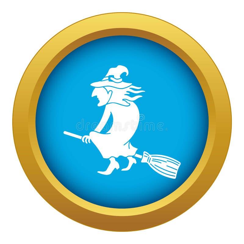Bruxa no vetor azul do ícone da vassoura isolada ilustração stock