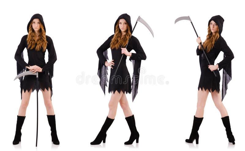 A bruxa nova com a foice isolada no branco imagens de stock