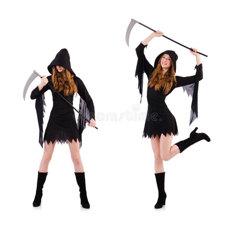 A bruxa nova com a foice isolada no branco fotografia de stock