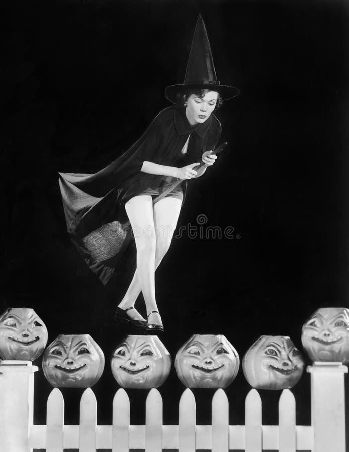 A bruxa nova paira em sua vassoura, eyeing que abóbora a escolher (todas as pessoas descritas não são umas vivas mais longo e nen fotografia de stock royalty free