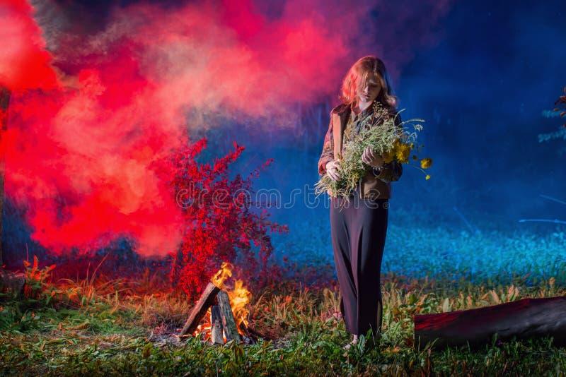bruxa pelo fogo da noite na floresta imagem de stock