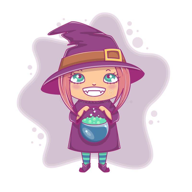 Bruxa pequena de Halloween Criança da menina no traje do Dia das Bruxas com caldeirão Ilustração do vetor ilustração do vetor