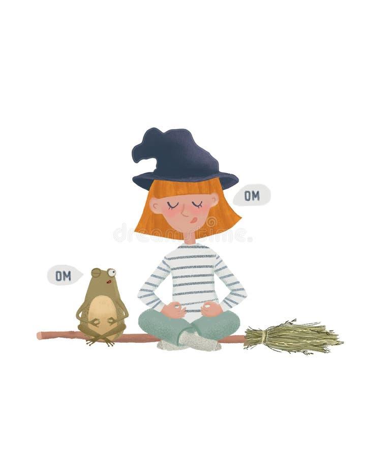 Bruxa pequena dos desenhos animados na meditação em uma vassoura com rã do amigo Illustation bonito do caráter como o projeto e o ilustração stock