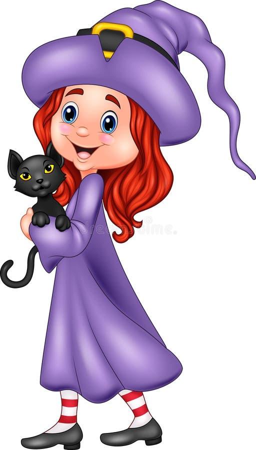 Bruxa pequena dos desenhos animados que guarda o gato preto ilustração royalty free